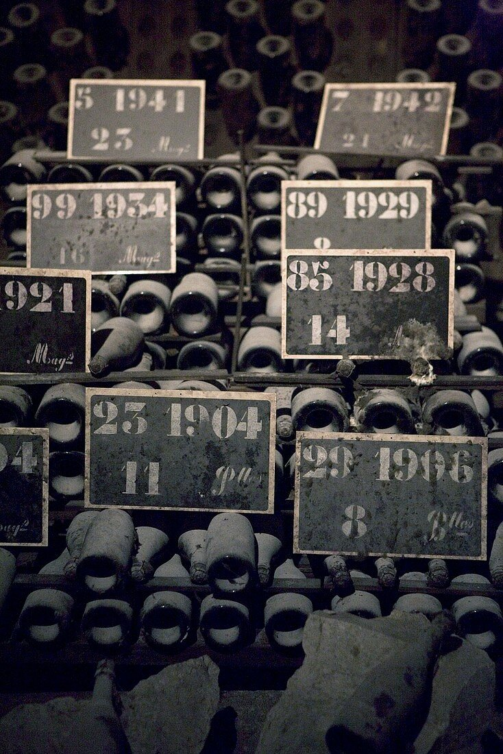 Old champagne bottles in storage in Pommery, Reims, Champagne, France