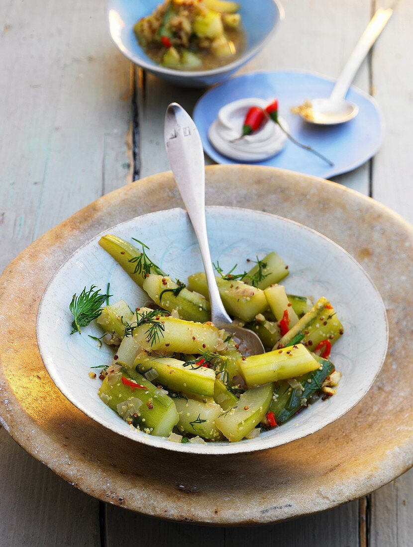 Gherkins with dill and chilis