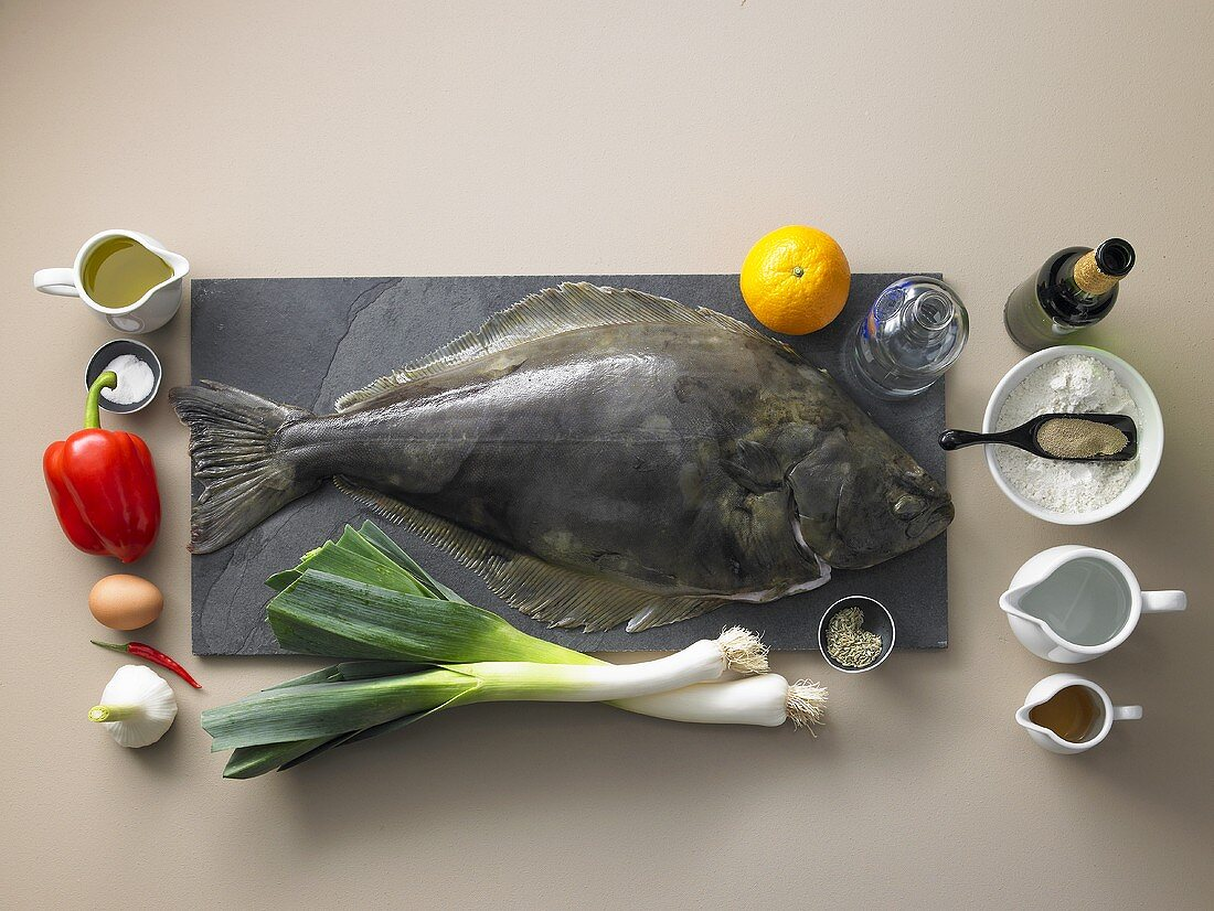 Ingredients for halibut with oranges, vodka and leek with rouille and pot bread
