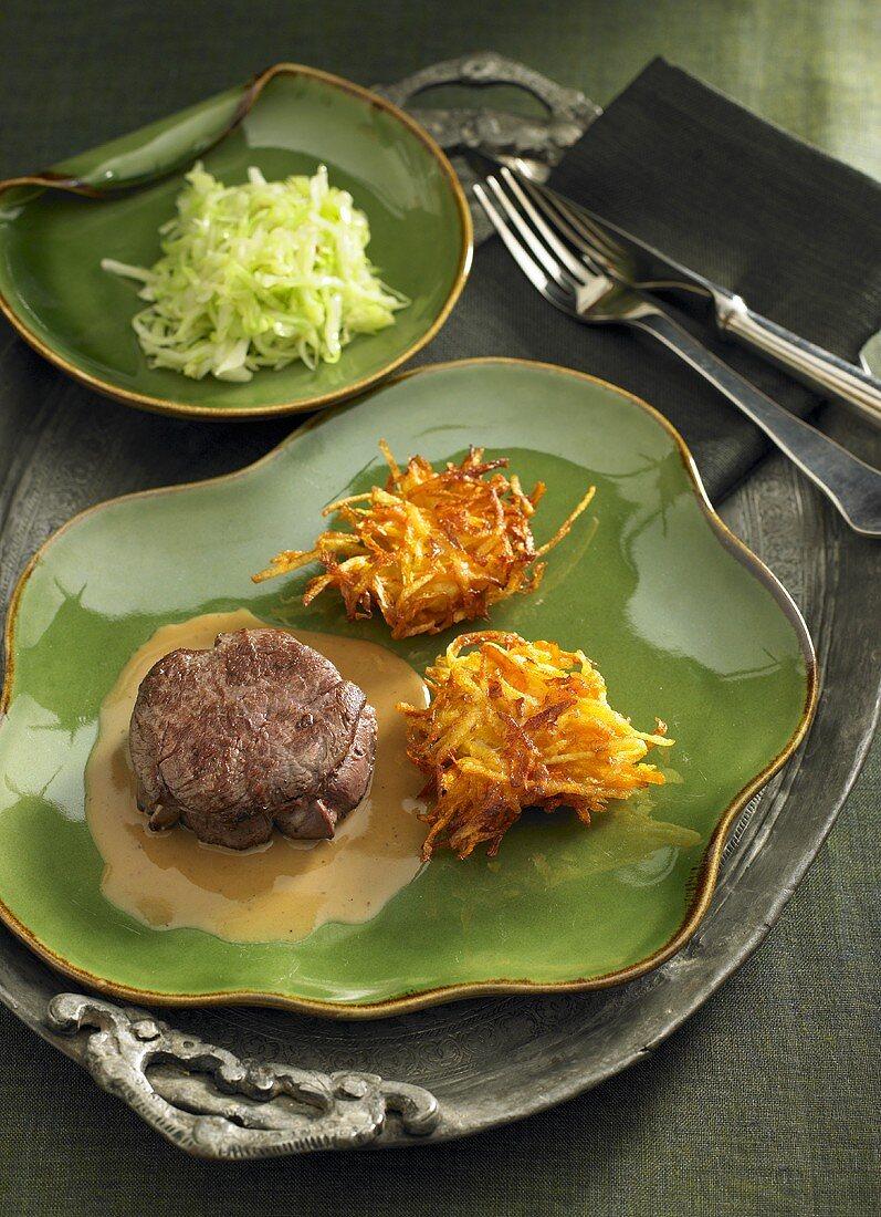 Venison steak with rösti (fried Swiss potato cakes)