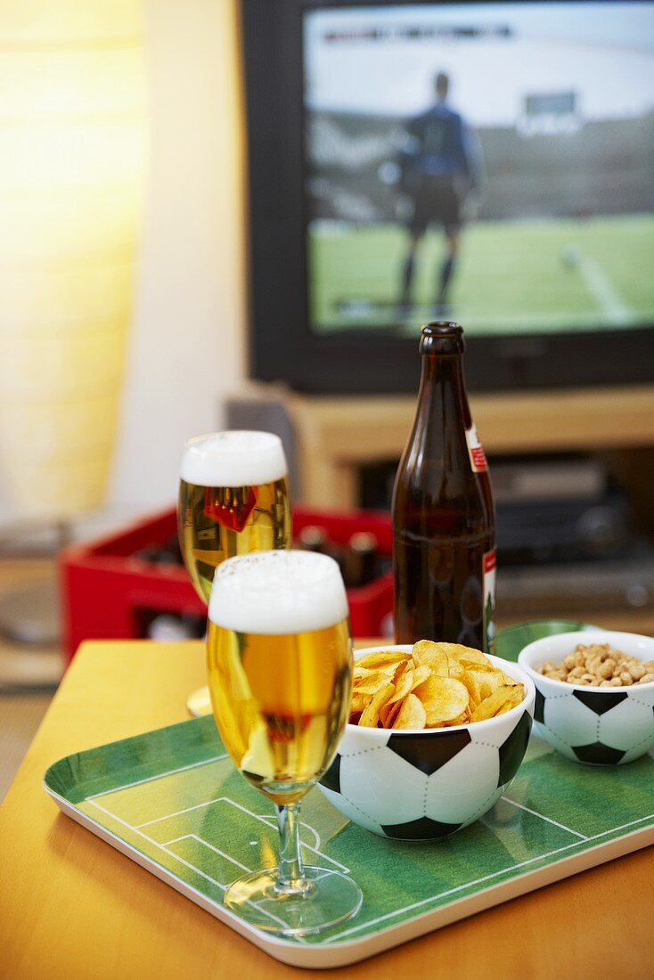 Beer and nibbles for an evening of TV