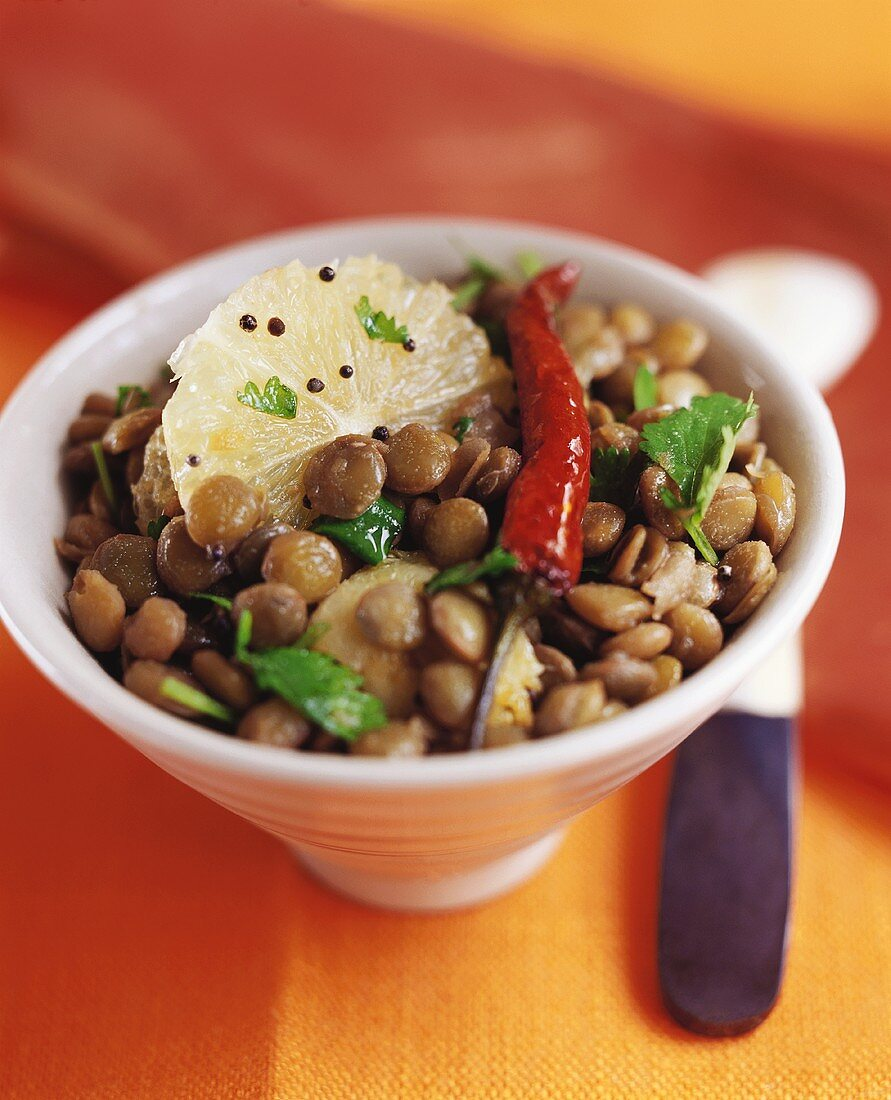 Green lentils with lemon and chili pepper, India