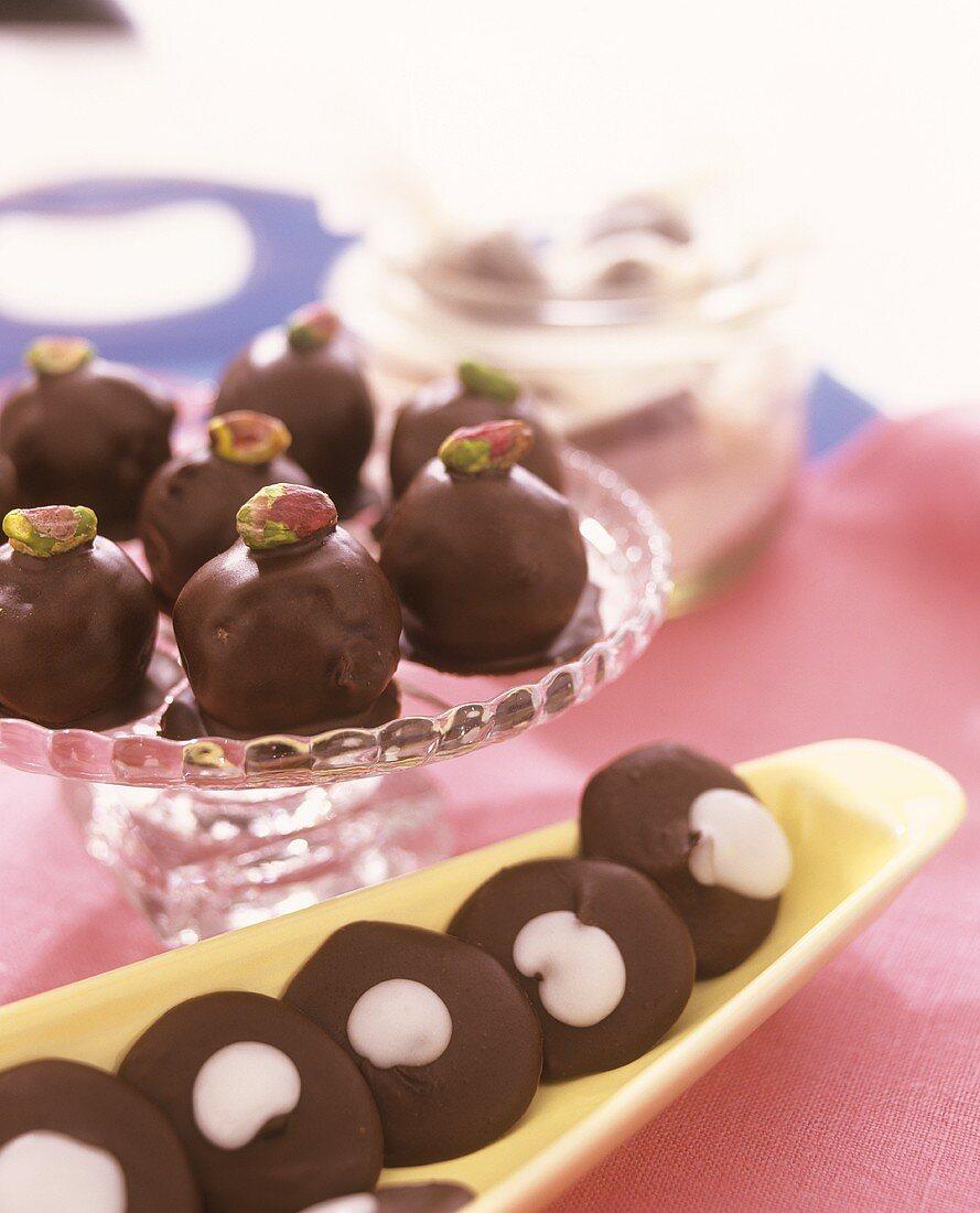 Chocolate-coated marzipan balls & chocolate peppermint cookies