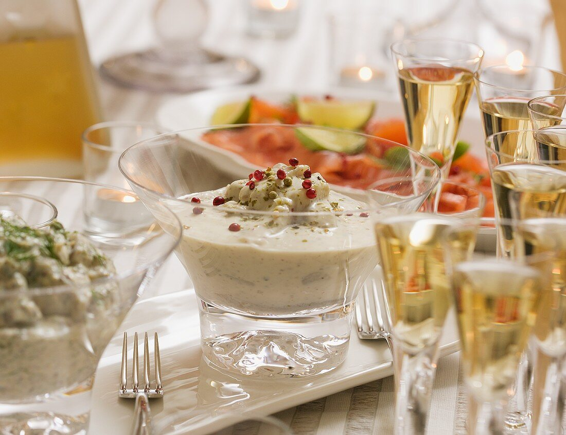 Herring in cream sauce on Christmas buffet table (Sweden)