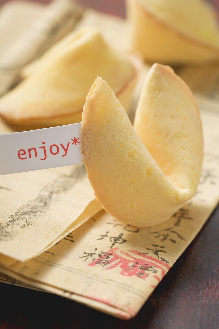Fortune cookies on Asian newspaper