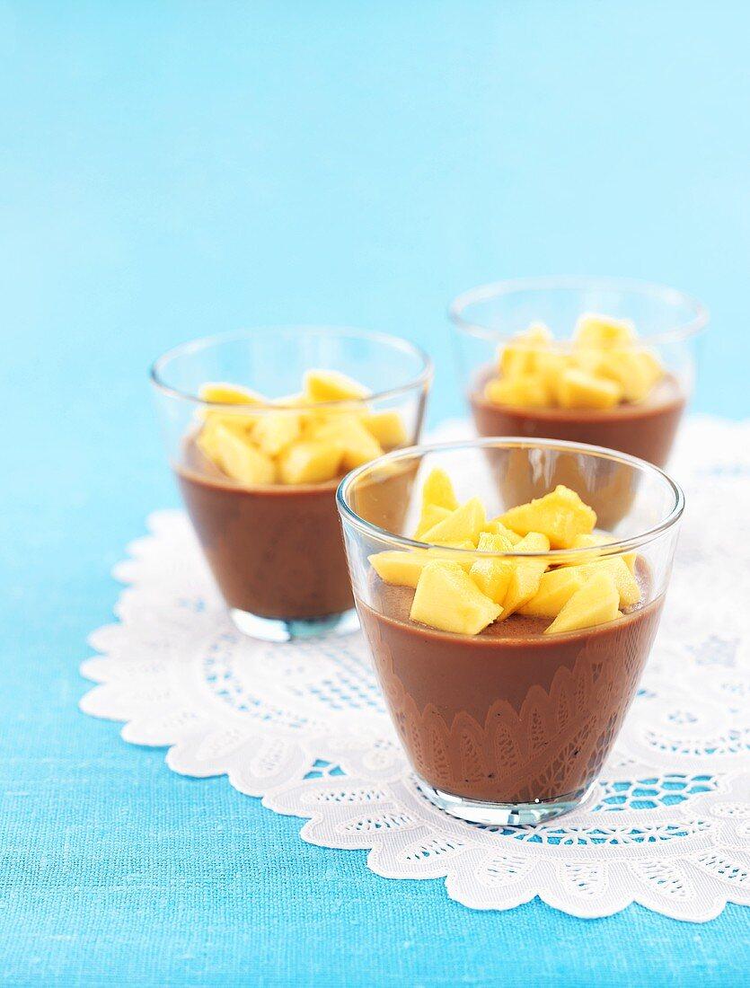 Chocolate dessert with fresh diced mango