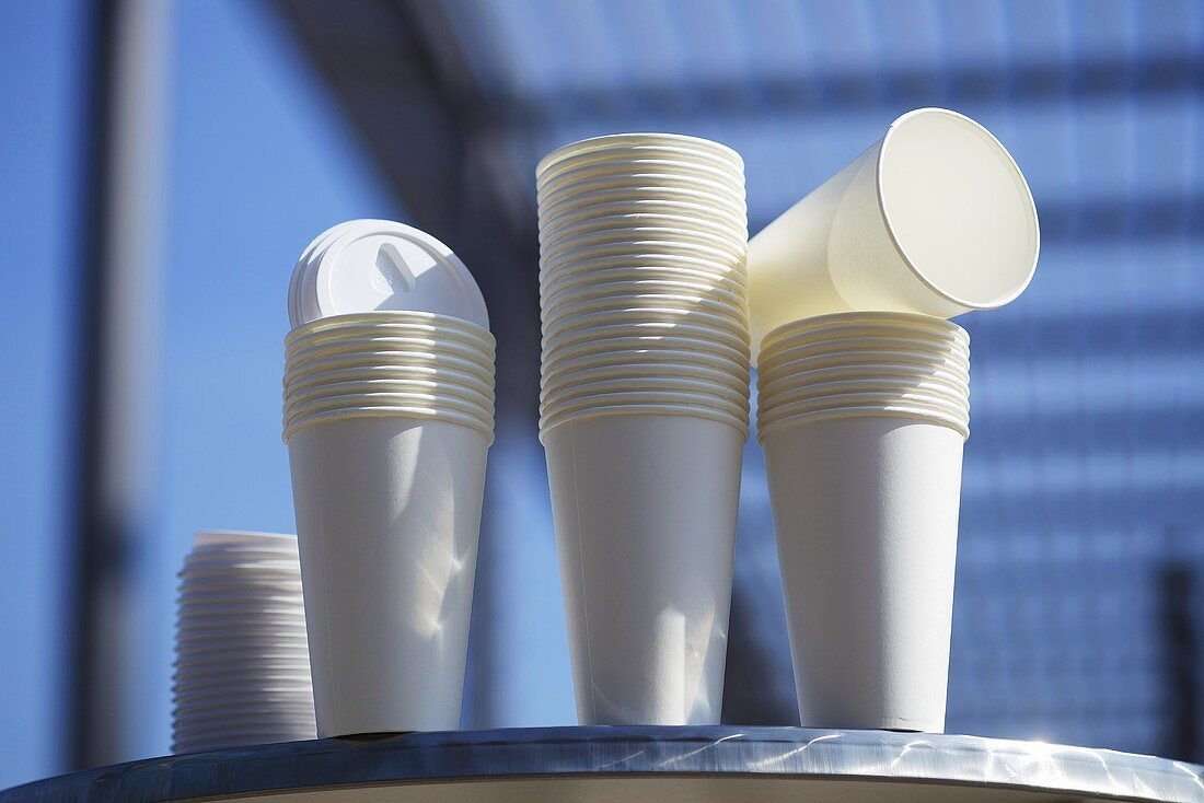 Paper cups for take-away coffee