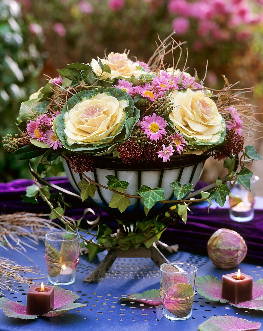 Ornamental cabbage, ivy, Michaelmas daisies, Skimmia, Euphorbia