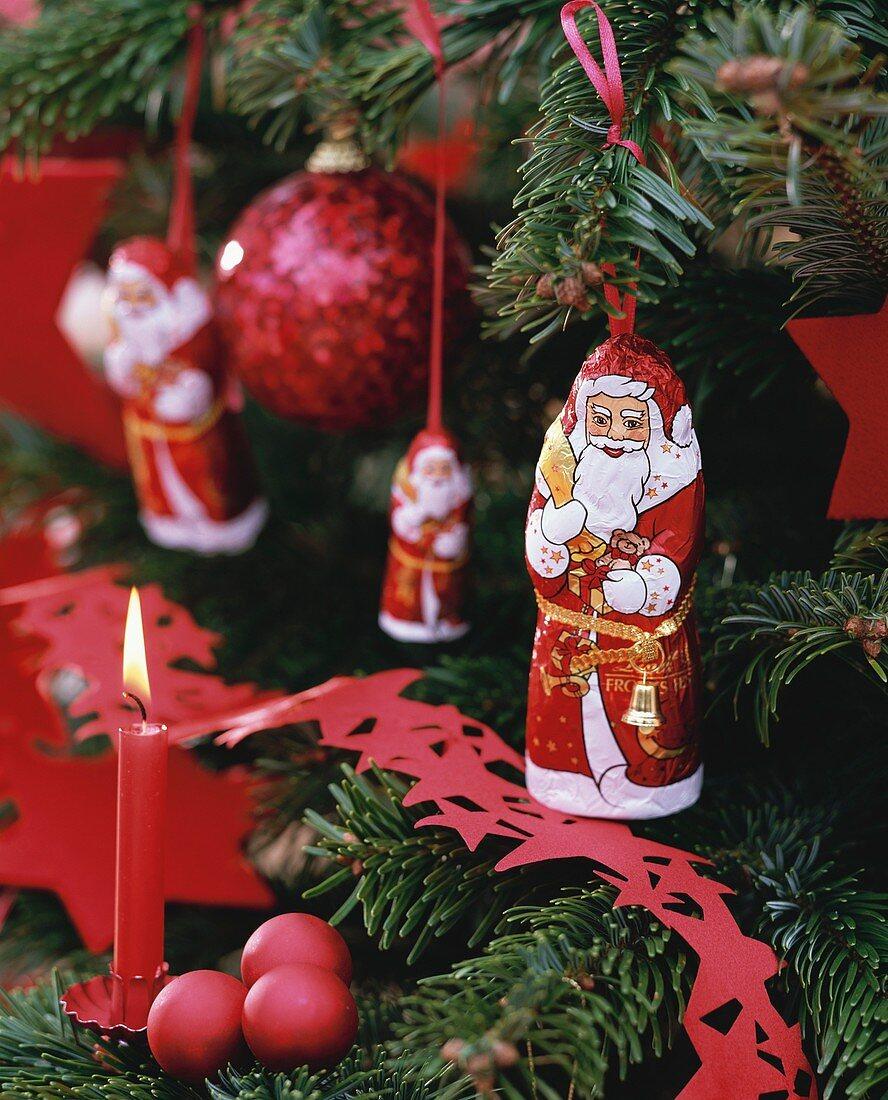 Chocolate Father Christmas hanging on Christmas tree