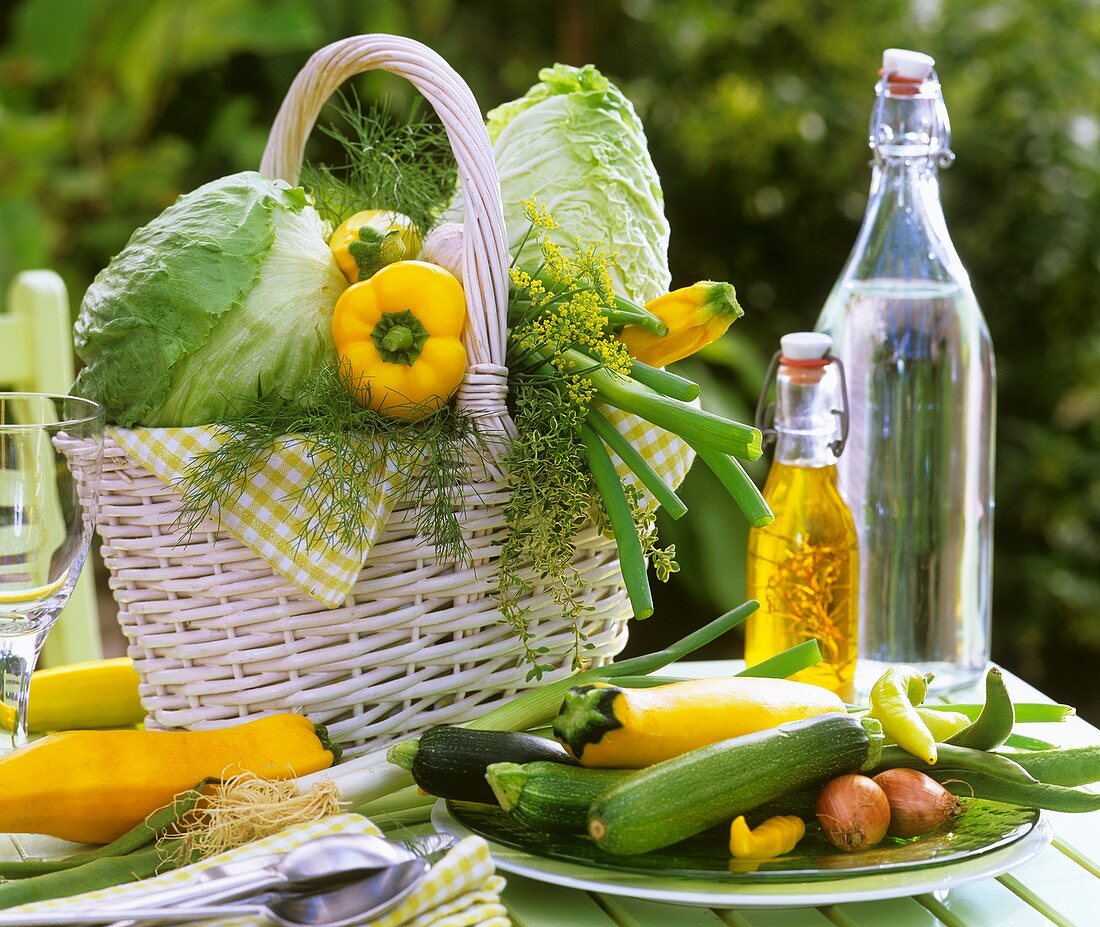 Various types of vegetables and herbs in a white basket