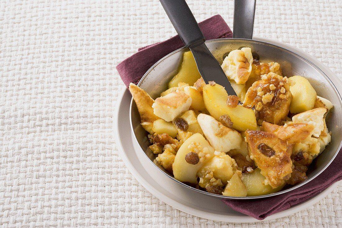 Quark schmarren (pieces of quark pancake) with apple