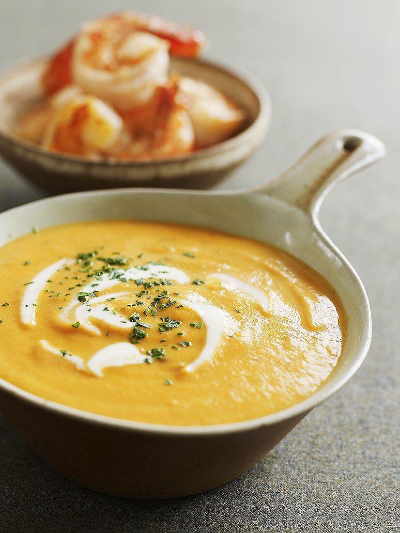 Sweet potato soup with shrimps