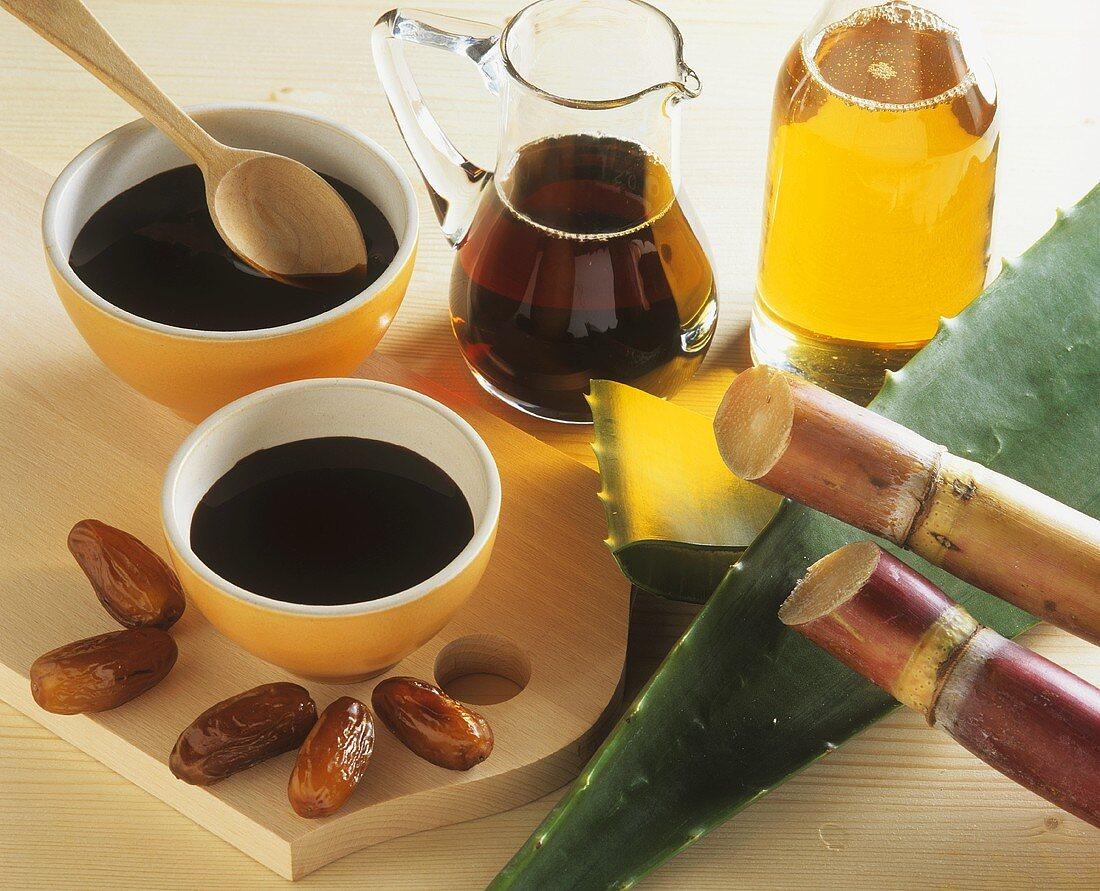 Sugar beet syrup, sugar cane, Aloe vera and dates