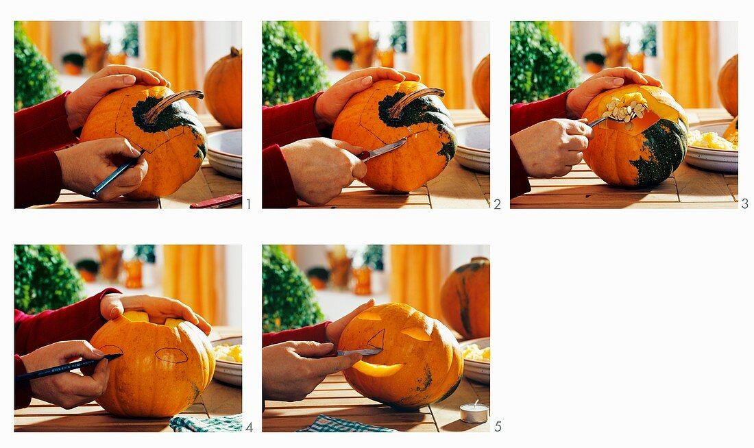 Cutting a face in a pumpkin for Halloween