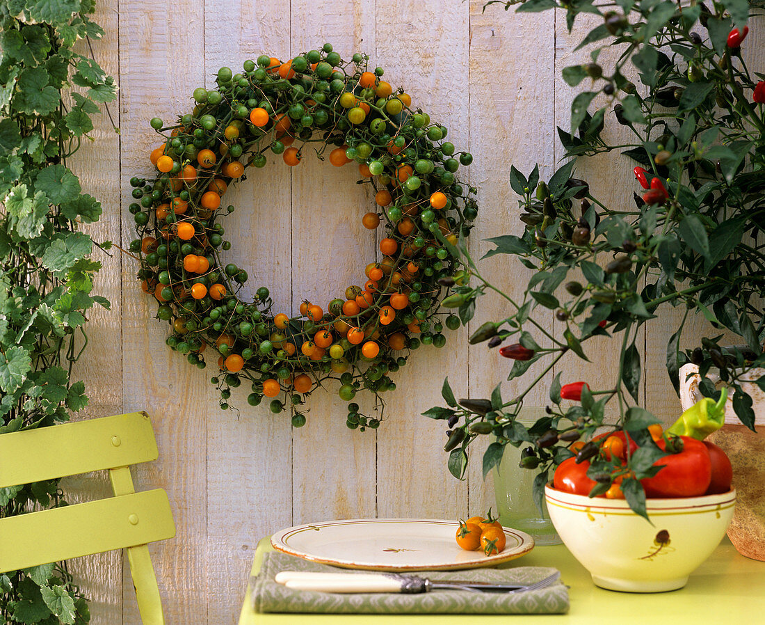 Wreath of cabbage leaves and cocktail tomatoes