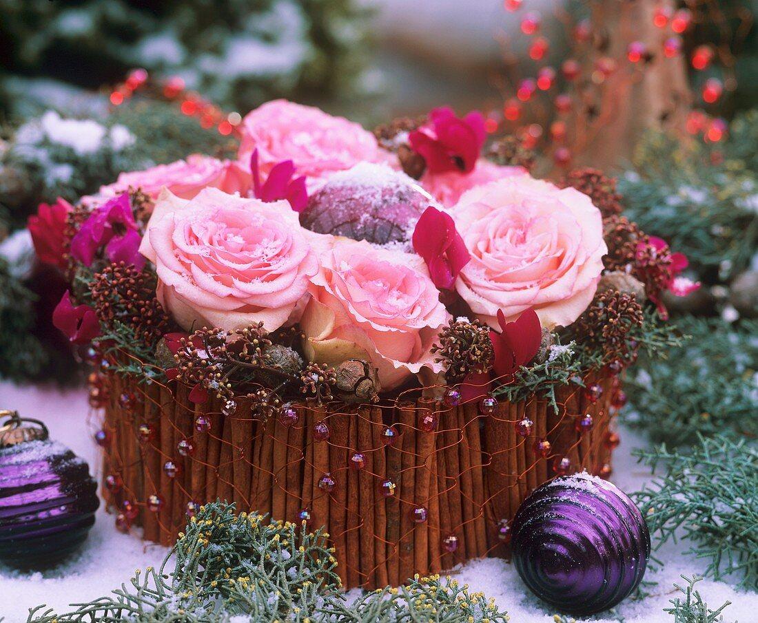 Advent flower arrangement