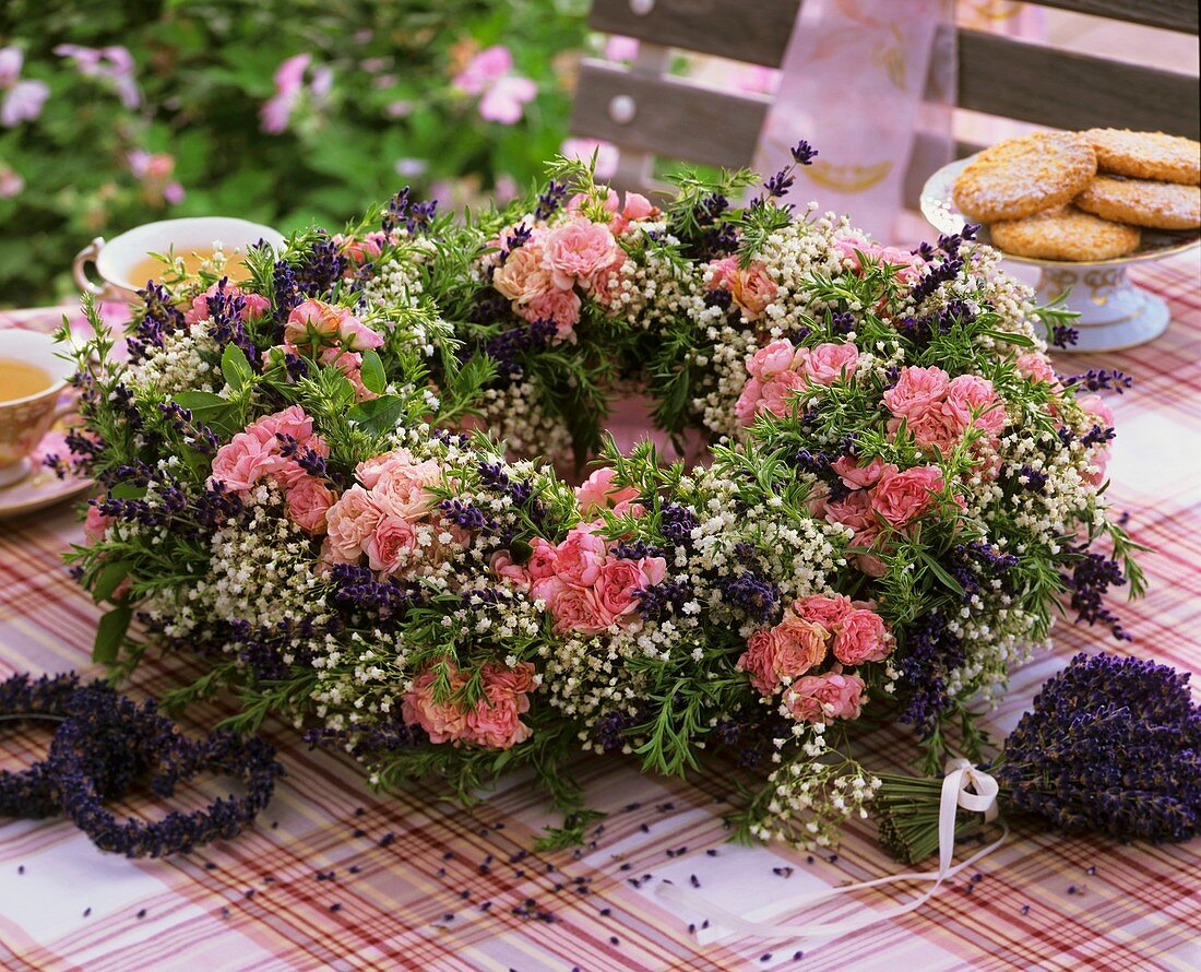 Summery wreath of roses, lavender and Gypsophila