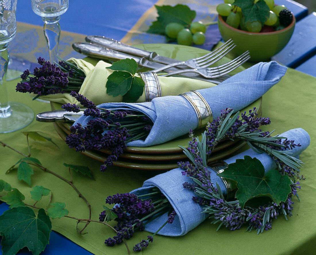 Lavender rolled in napkins