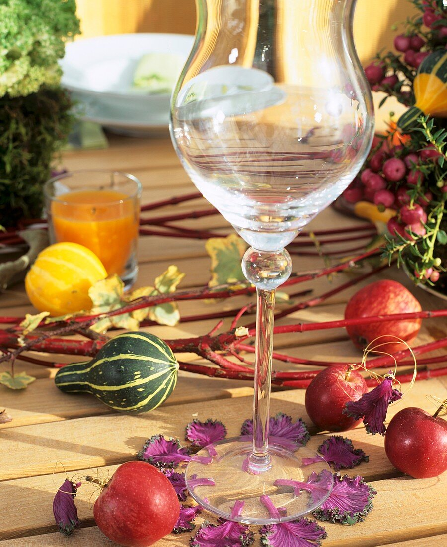 Ornamental cabbage leaves as decoration for wine glass