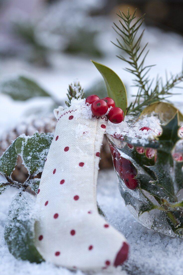 Christmas stocking with Christmas decorations