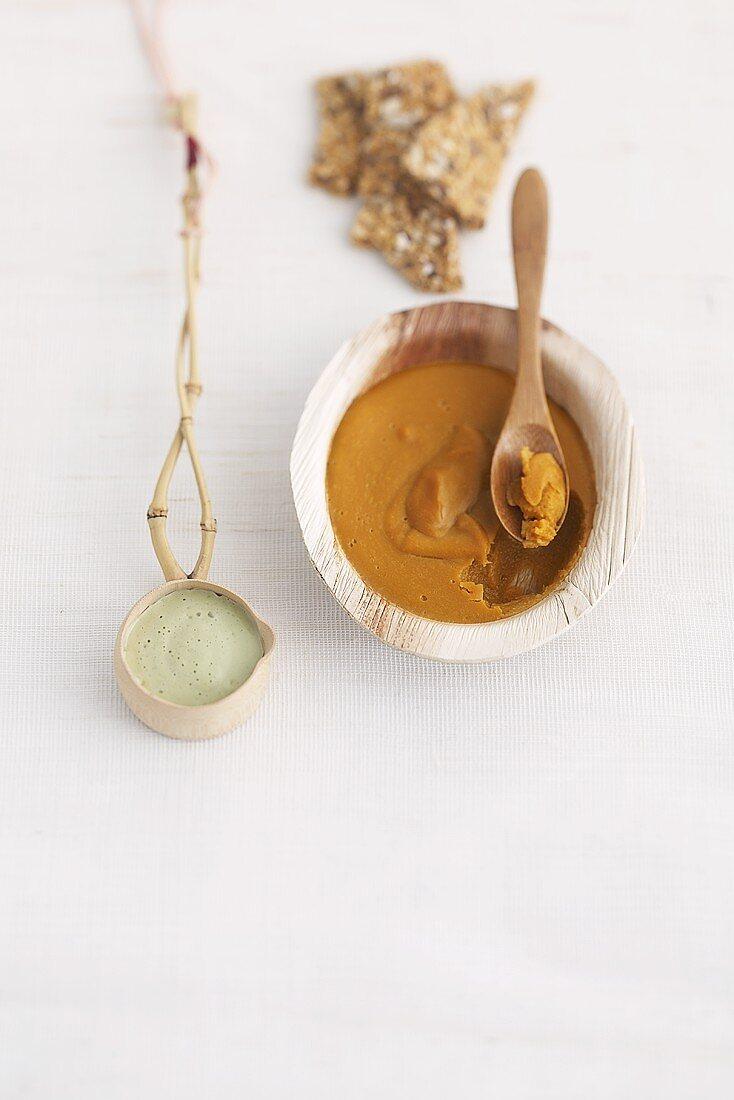 Crème caramel and green tea & almond coulis