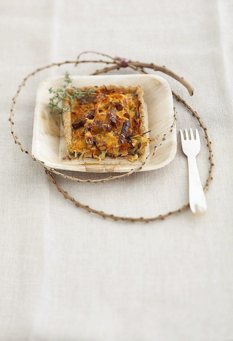 Vegetable tart with seaweed