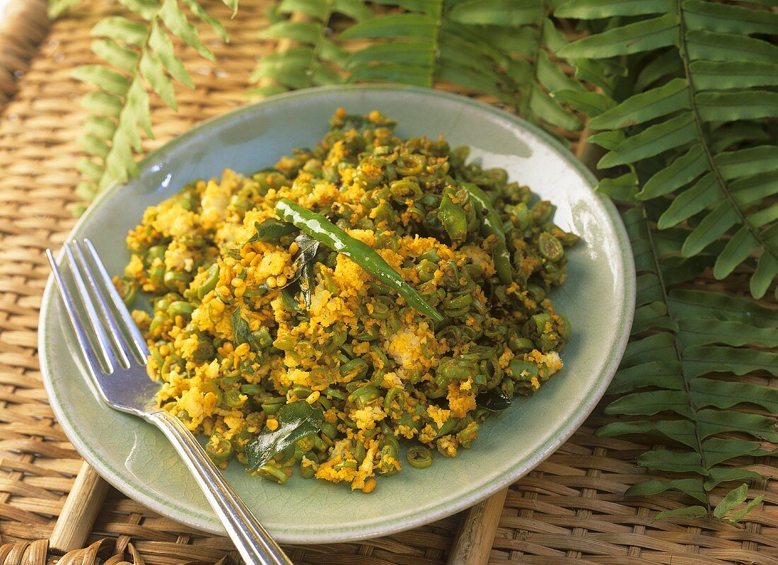 Chatu bati poda (Indian lentil dish with chilli rings)