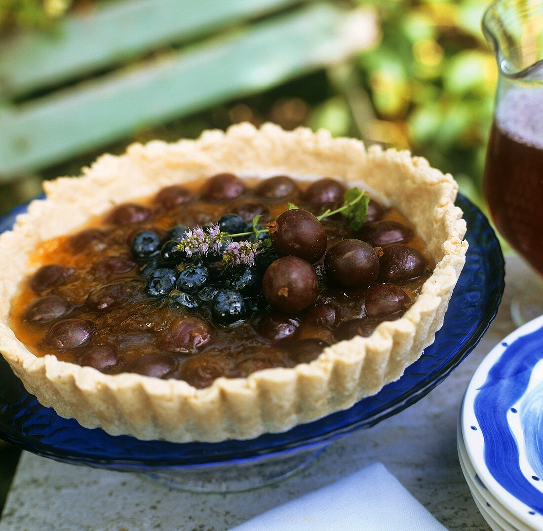 Gooseberry and blueberry tart