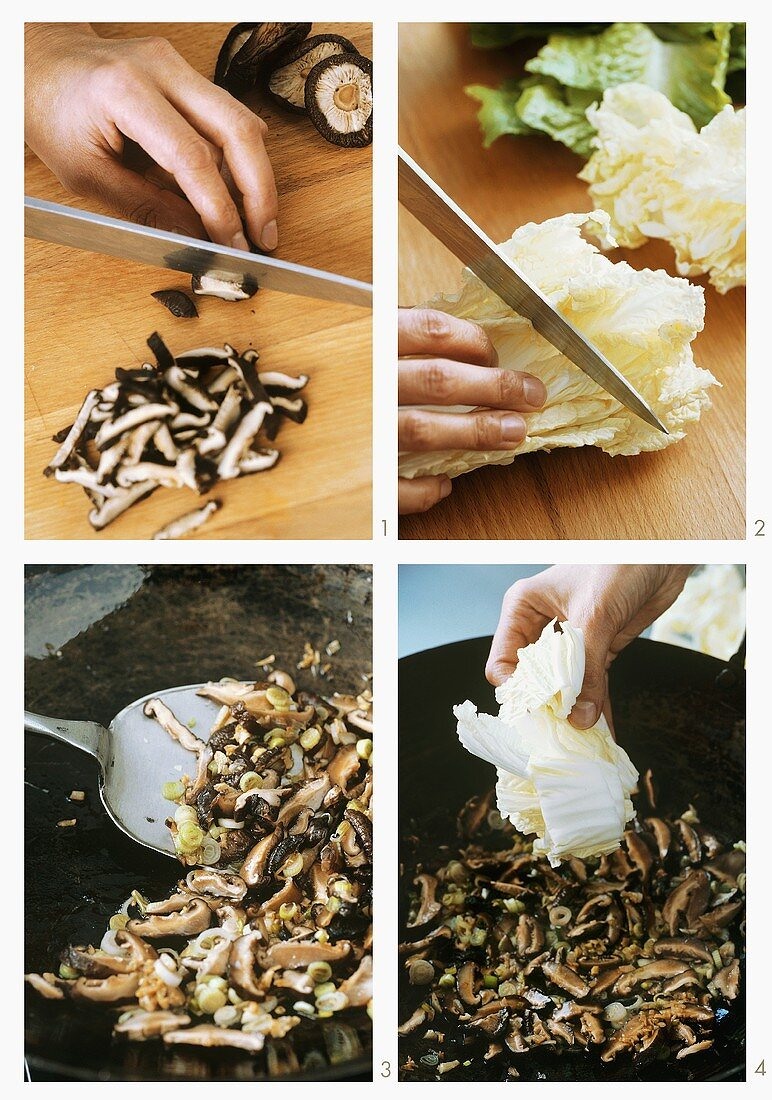 Making Vietnamese stir-fry with mushrooms