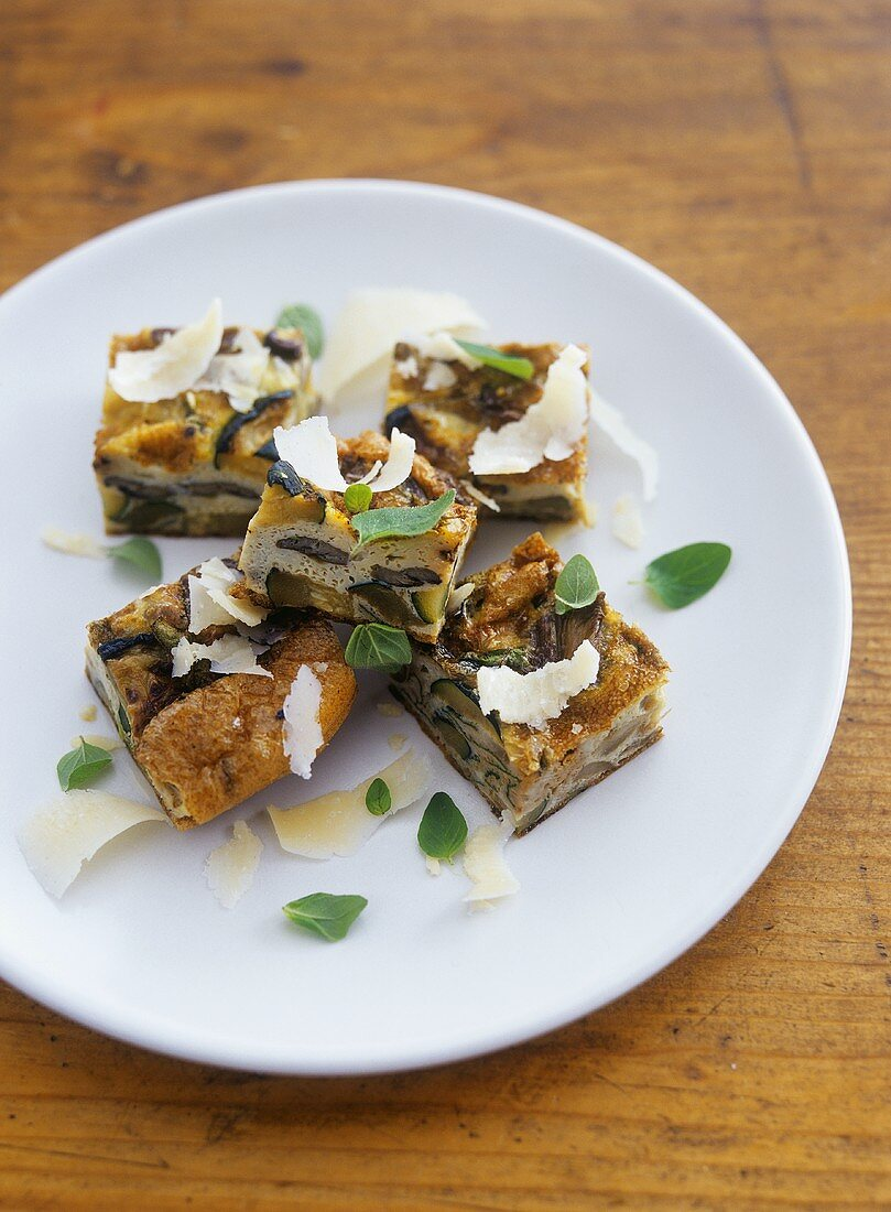 Courgette and oyster mushroom frittata, cut into pieces