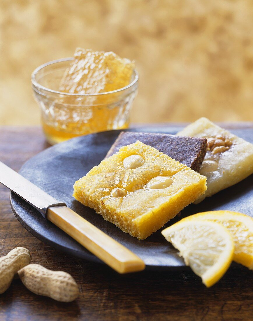 Fruit and nut slices with honeycomb