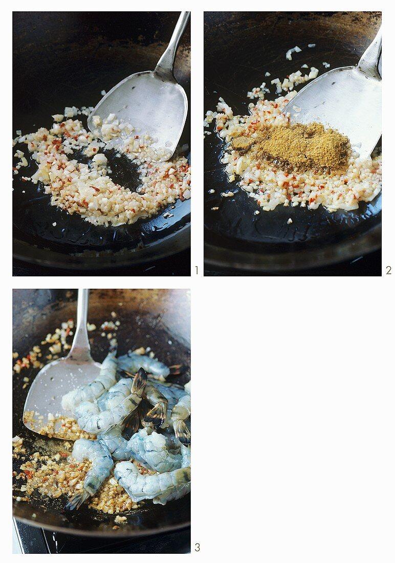Preparing Indonesian hot and sour prawns