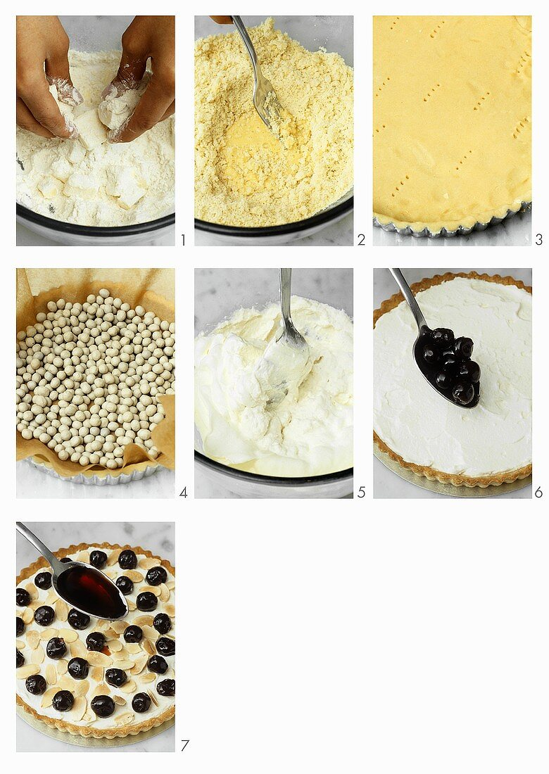 Making ricotta cherry tart