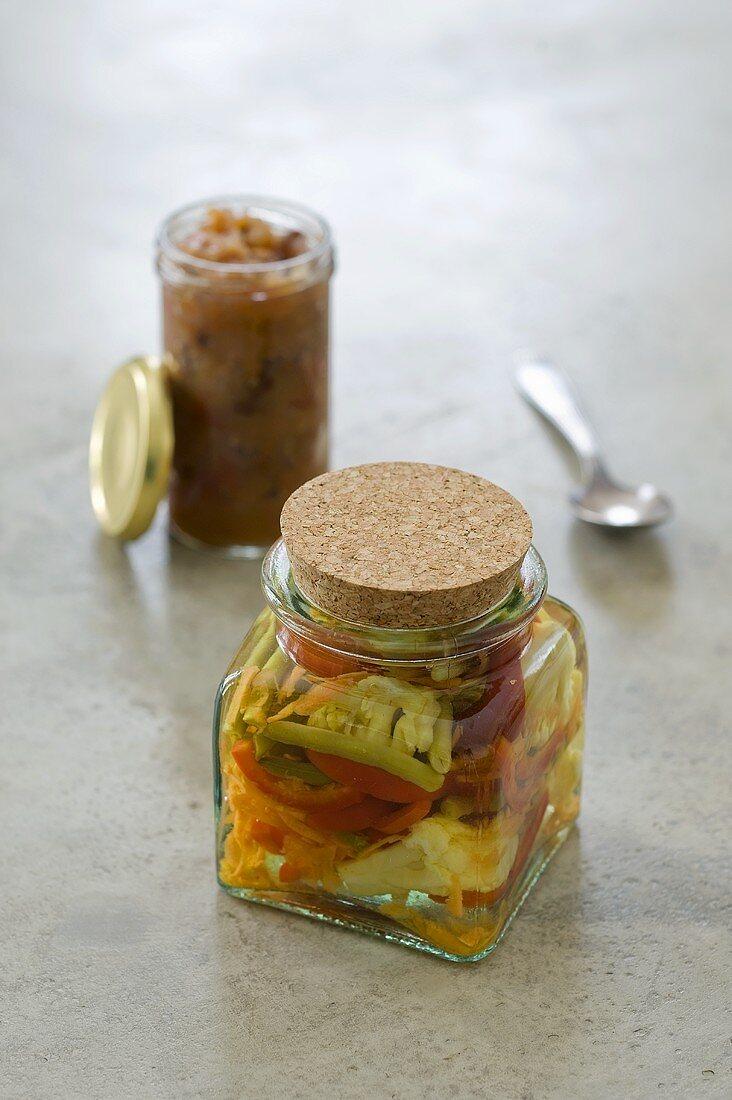 Achards (vegetables pickled in vinegar) and chutney