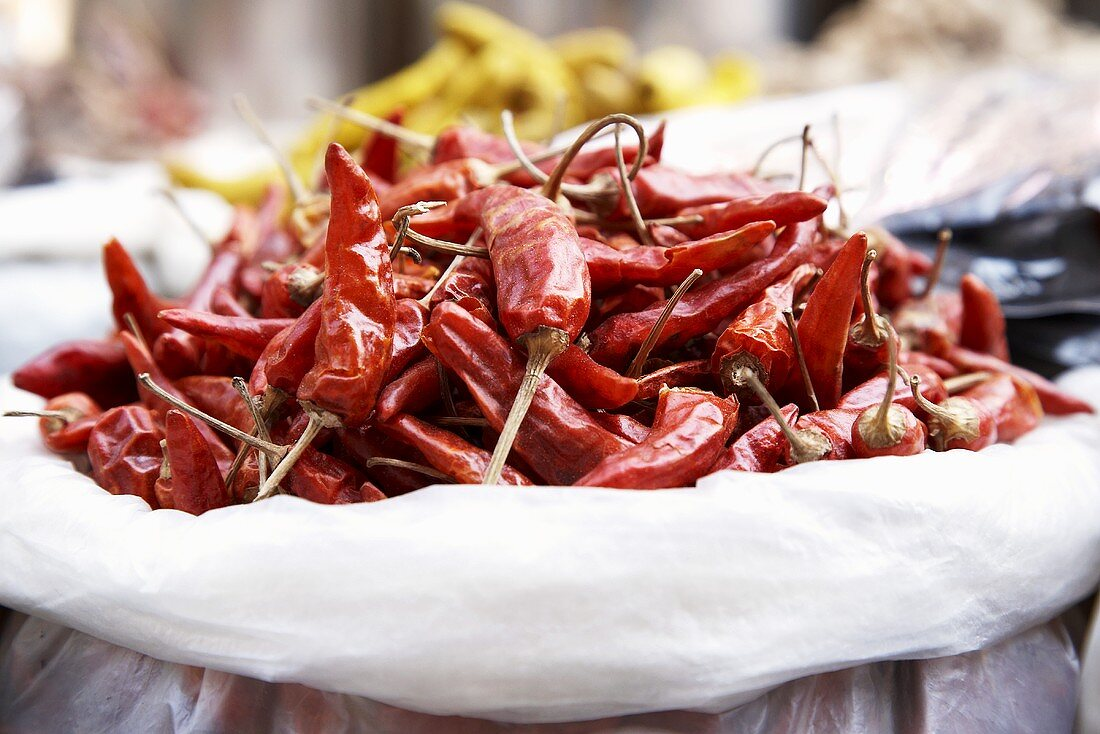 Dried chillies in a sack