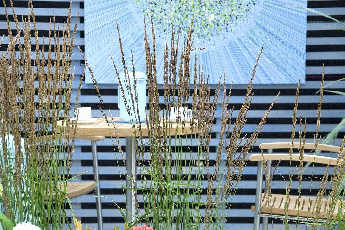 Reed grass (Calamagrostis x acutifolia) in front of garden furniture