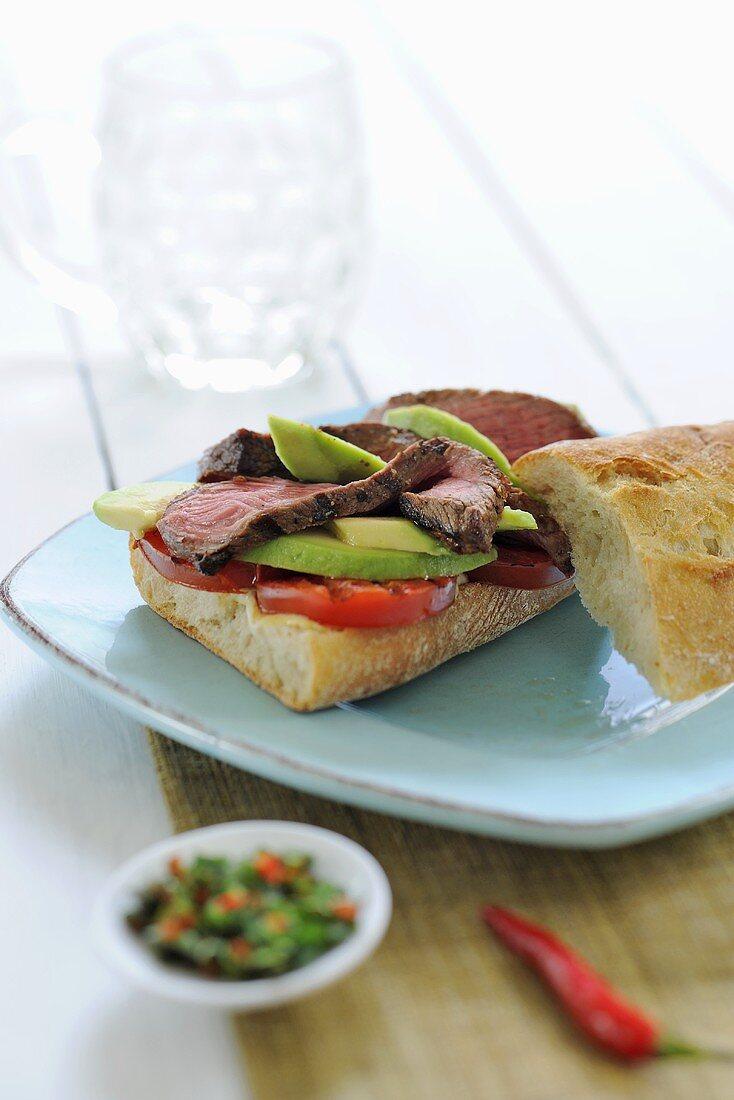 Roast beef and avocado on baguette