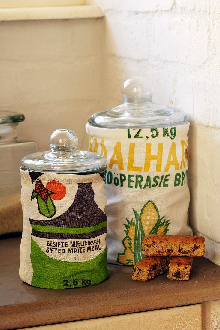 Storage jars with fabric covers