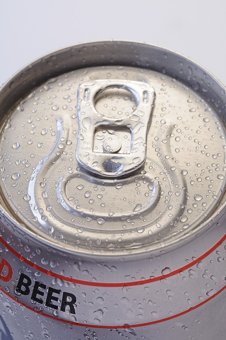 Can of beer with drops of water (close-up)
