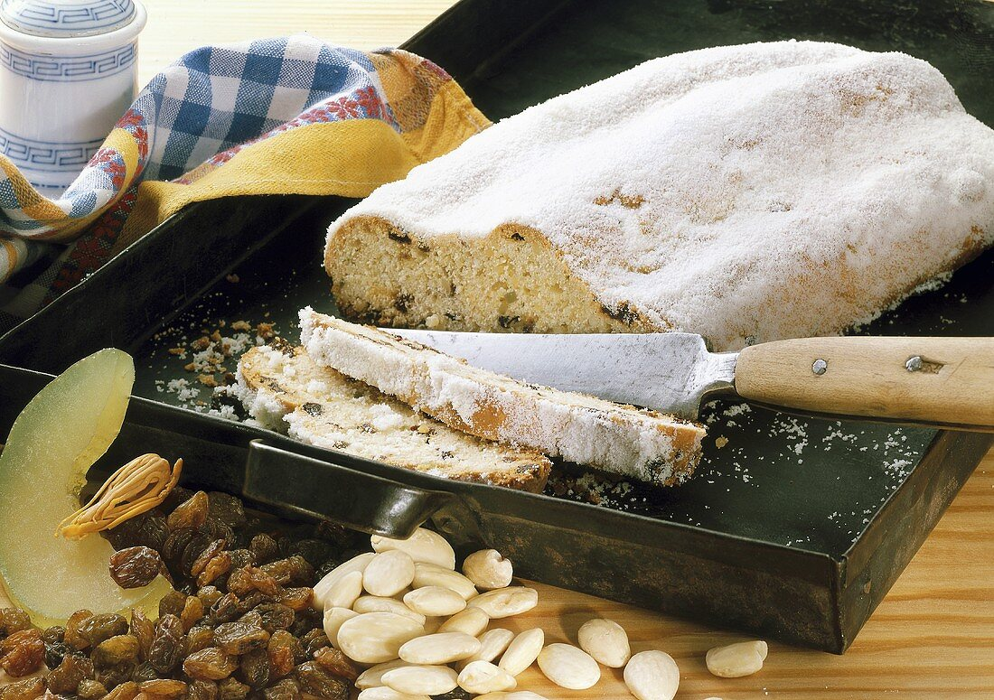 Christmas stollen with baking ingredients