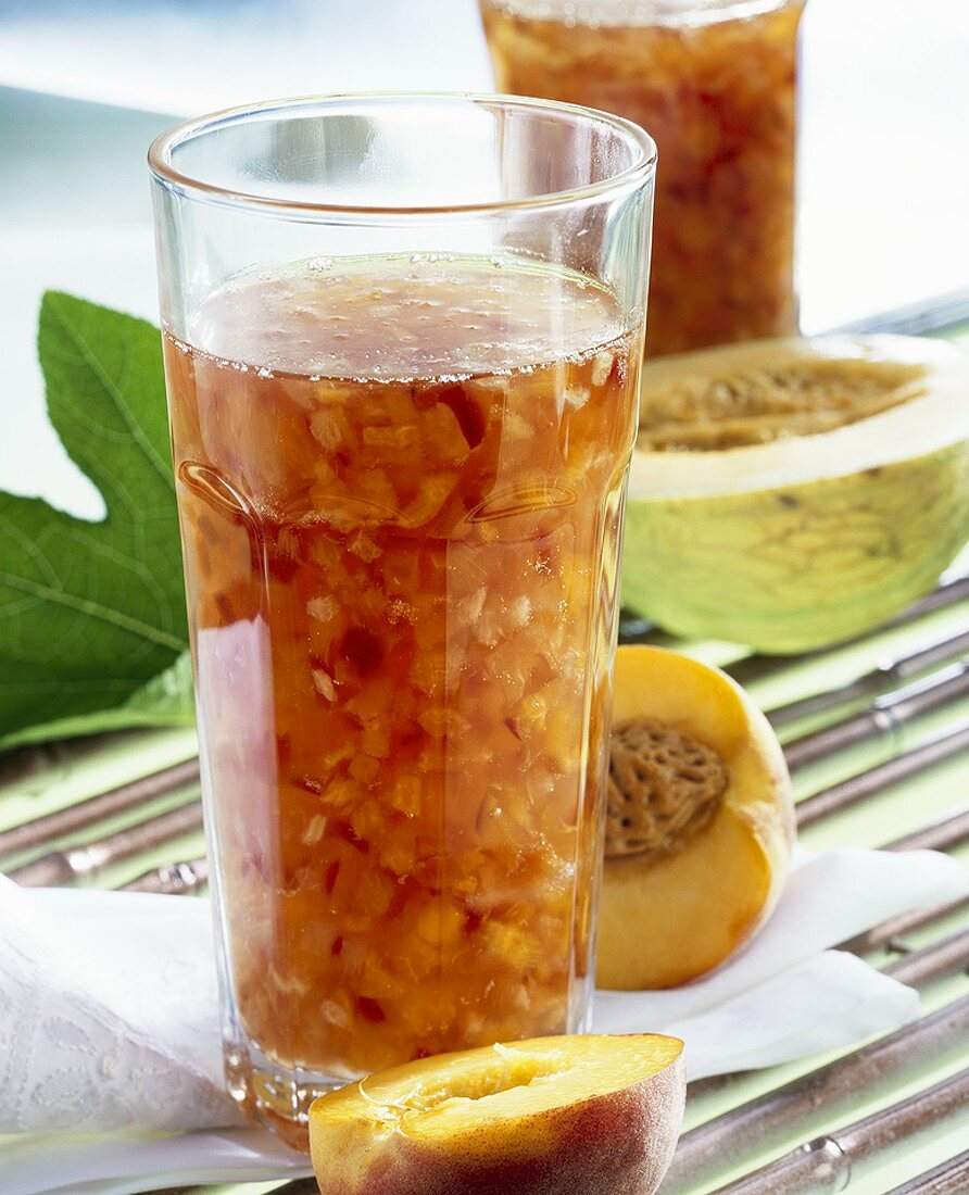 Peach and melon confiture with ginger