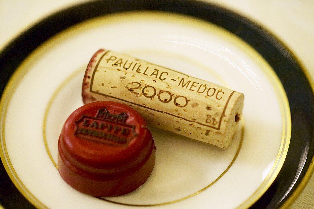 Château Lafite wine cork and capsule