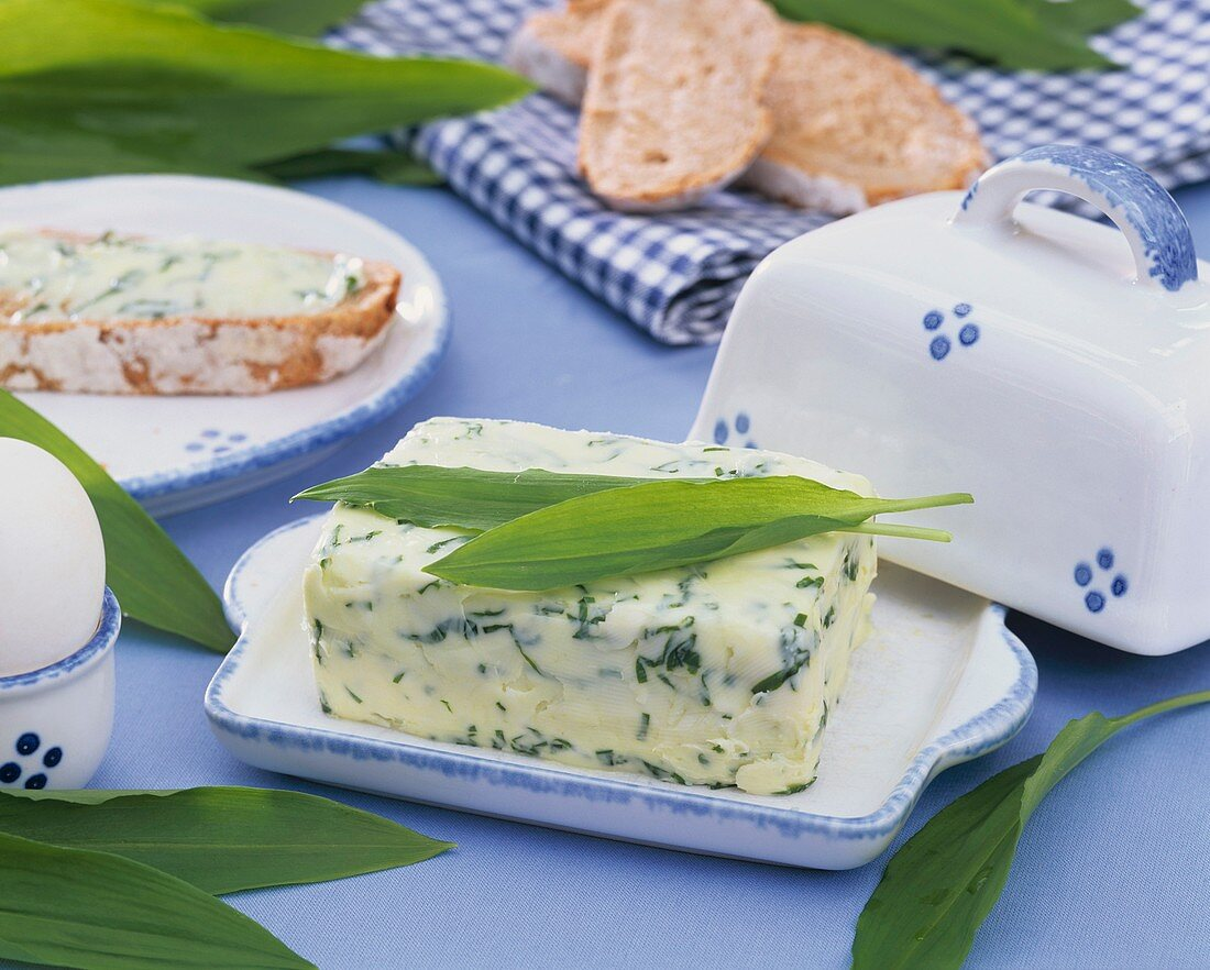 Ramsons (wild garlic) butter in a butter dish