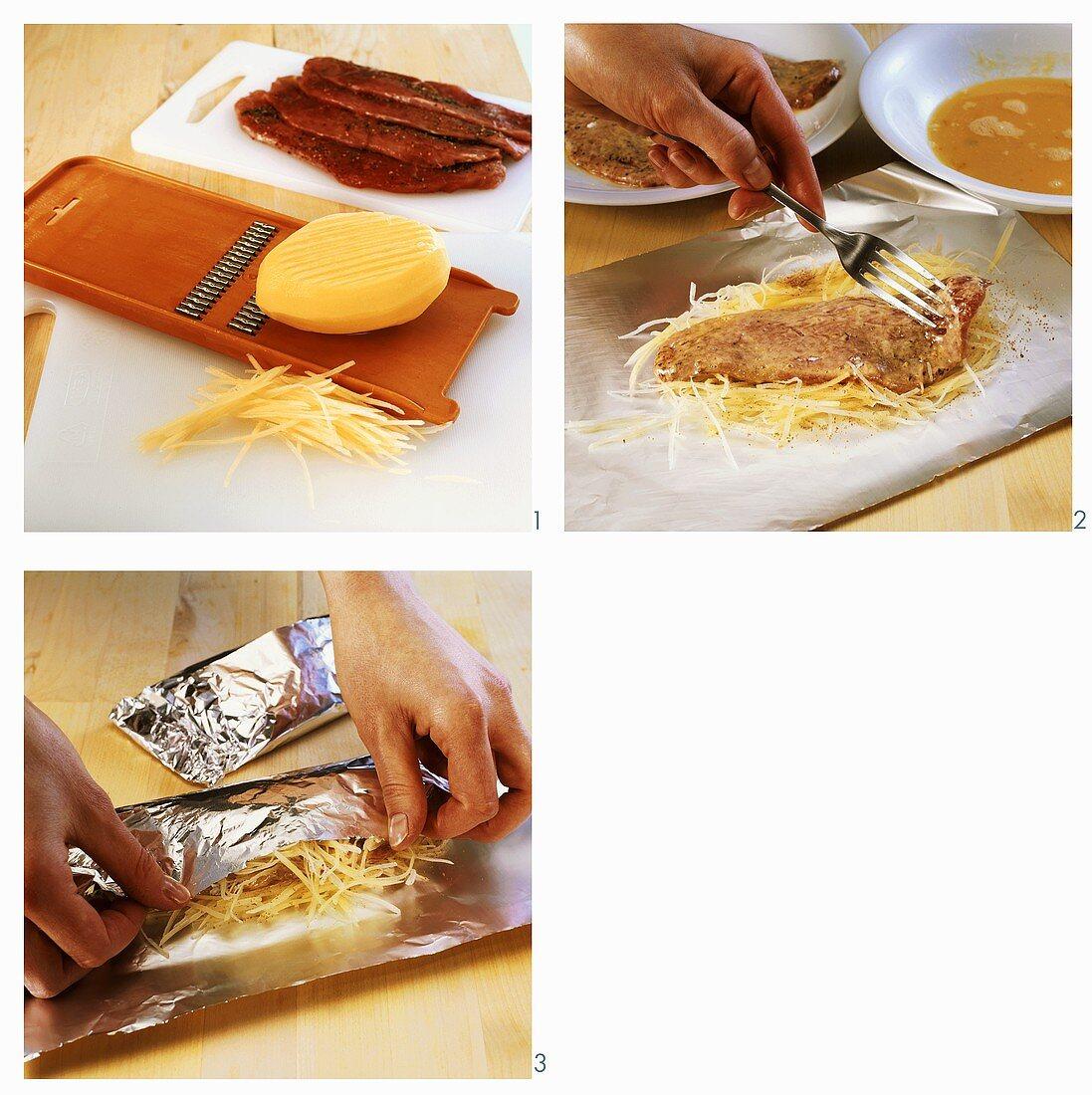 Preparing escalopes with potato crust