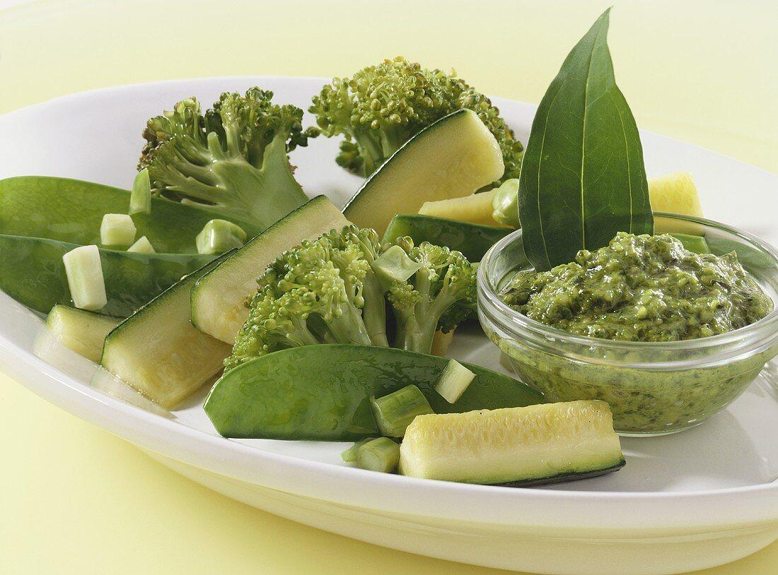 Green vegetables with ramsons (wild garlic) pesto