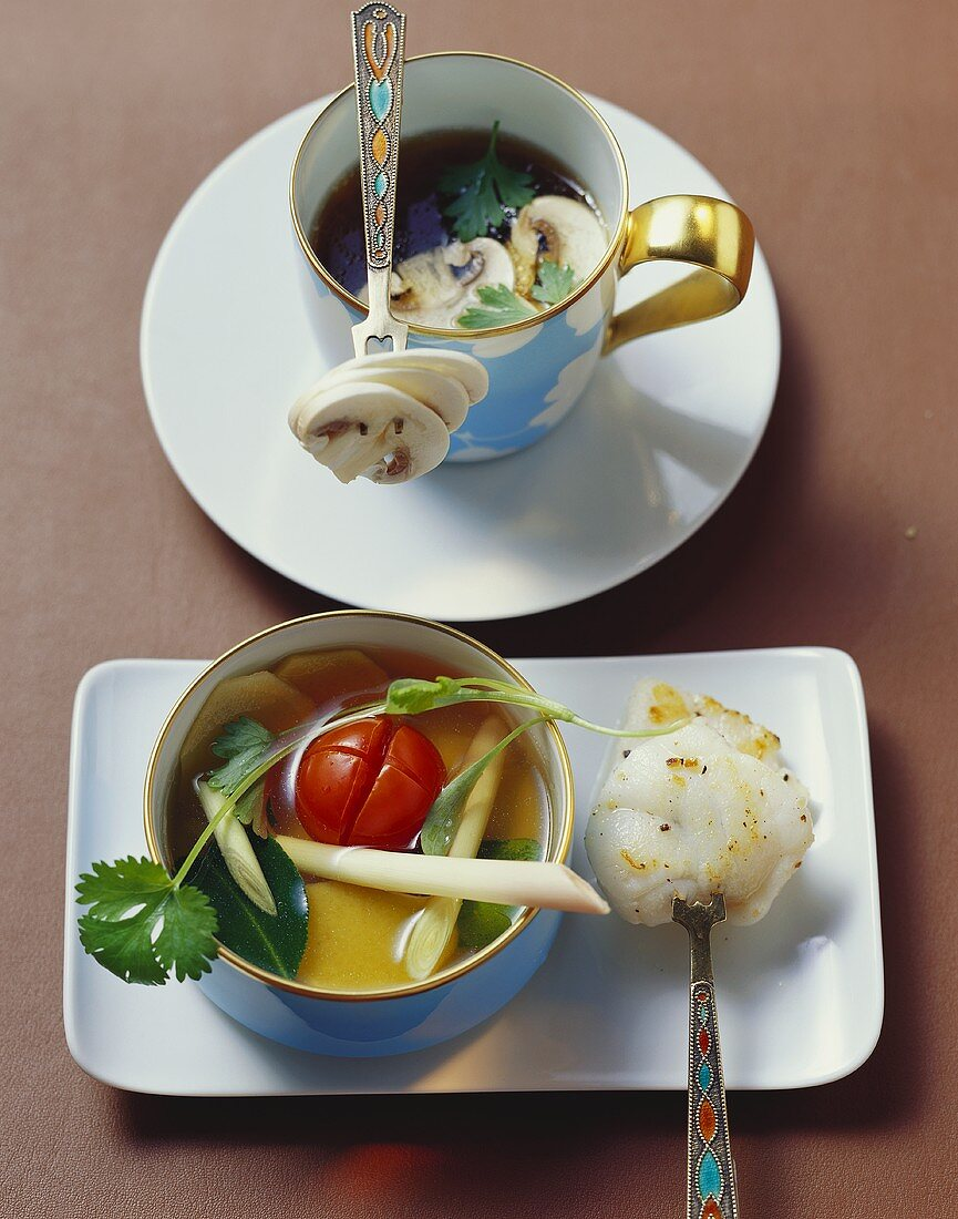 Clear mushroom consommé and lime broth with fish