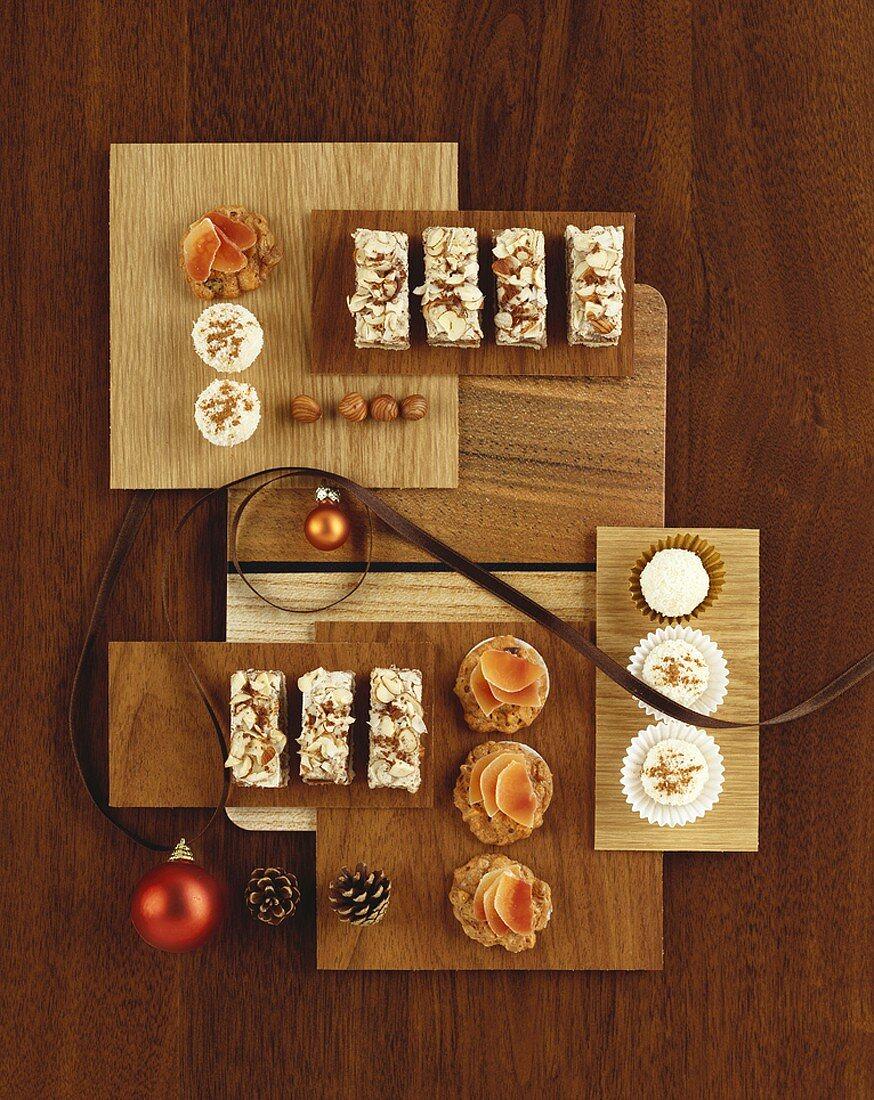 Nut slices, coconut balls and muesli biscuits