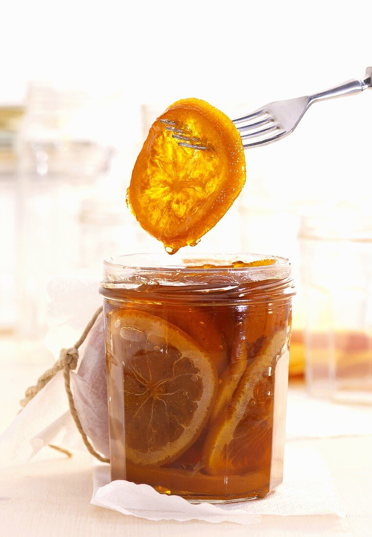 Orange marmalade with slices of orange