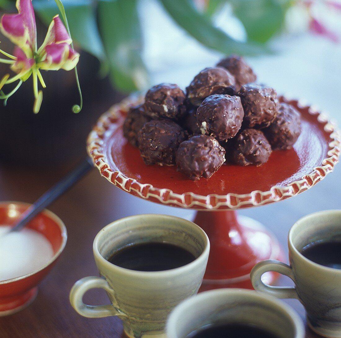 Beijos de coco con chocolate (Brazilian coconut-chocolate balls)