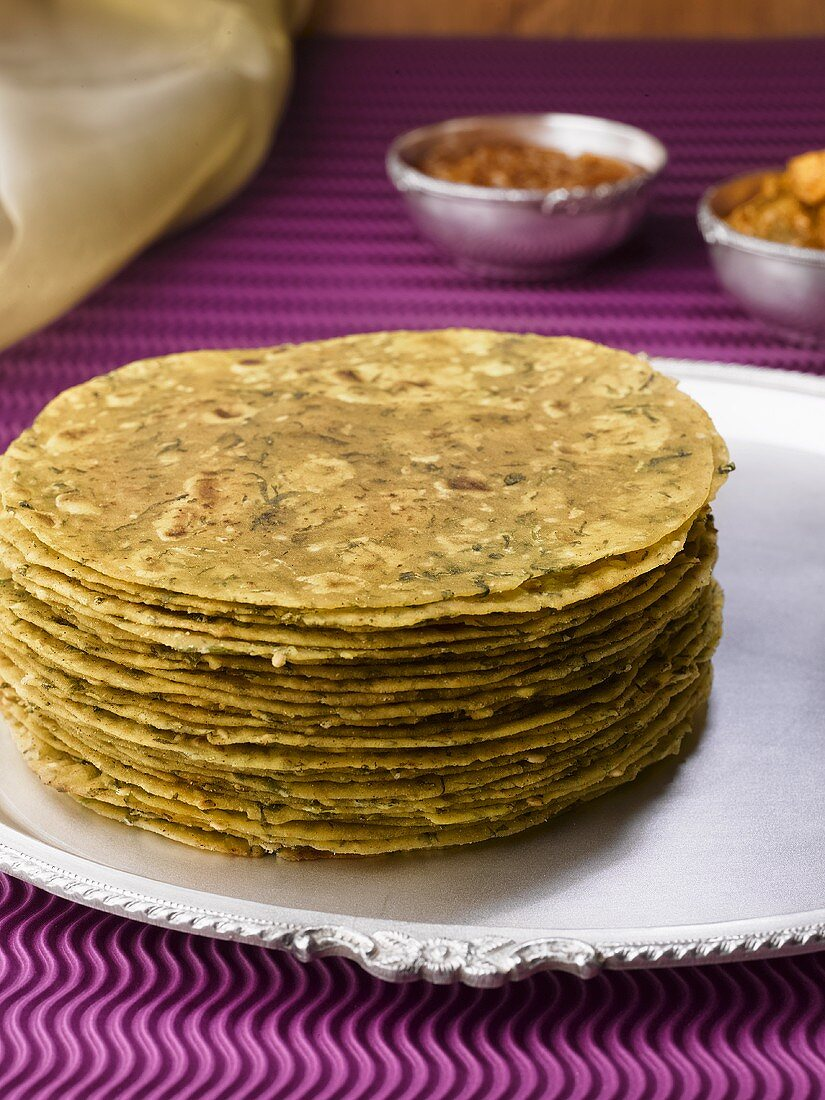 Methi thepla (Indian flatbread) with mango pickle